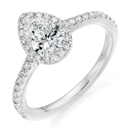 Platinum Pear Shape Diamond Halo Engagement Ring 0.85ct
