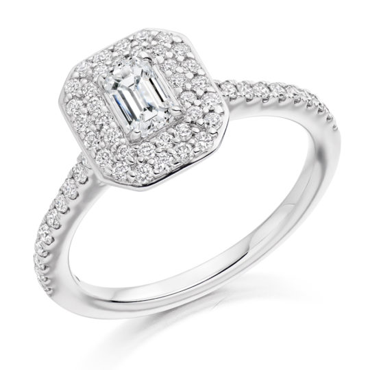 18ct Yellow Gold Emerald Cut Diamond Double Halo Engagement Ring 0.83ct
