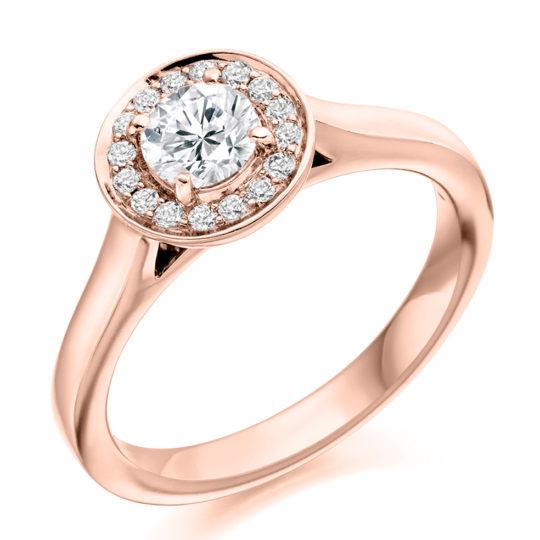 18ct Yellow Gold Brilliant Cut Diamond Halo Engagement Ring 0.65ct