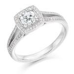 Platinum Brilliant Cut Diamond Halo Engagement Ring 0.80ct