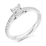 Platinum Princess Cut Diamond Engagement Ring 0.40ct