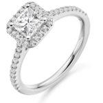 Platinum Princess Cut Diamond Halo Engagement Ring 1.15ct