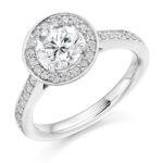 Platinum Brilliant Cut Diamond Halo Engagement Ring 1.25ct