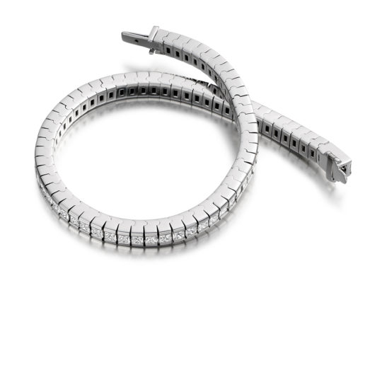 18ct White Gold Princess Cut Diamond Channel Set Tennis Bracelet 6.50ct