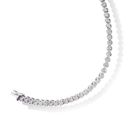 18ct White Gold Brilliant Cut Diamond Claw Set Tennis Bracelet 3.00ct